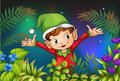 An elf at the garden illustration of Stock Photo