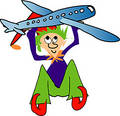 Elf with plane Royalty Free Stock Photo
