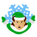 The elf Santa Claus the brunette in the form of a snowflake an icon. to part hands aside. on  white background. for the press, und Royalty Free Stock Photo