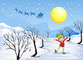 An elf in a snowy place illustration of Stock Photography