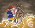 Elf spinning gold- fairy tales Stock Image