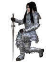 Elf warrior kneeling in decorated armour holding a sword d digitally rendered illustration Stock Image