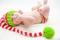 Elfish Christmas Baby Royalty Free Stock Photo