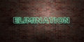 ELIMINATION - fluorescent Neon tube Sign on brickwork - Front view - 3D rendered royalty free stock picture