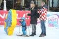 Elin Kostelic with son on ski slope