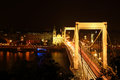 The Elisabeth Bridge at night in Budapest Royalty Free Stock Photo
