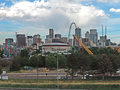 Elitch gardens and the downtown denver colorado skyline s amusement park with in background Stock Images