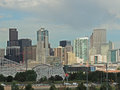 Elitch gardens and the downtown denver colorado skyline s amusement park with in background Royalty Free Stock Photos