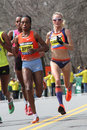 Elite female runners boston marathon rita jeptoo and shalane flanagan at the rita jeptoo won the and shalane flanagan got th place Stock Images