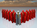 Elite robot military squad in red robes Royalty Free Stock Photography