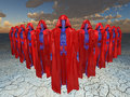 Elite robot militay squad military in red cloaks Royalty Free Stock Image