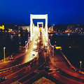 Elizabeth bridge in budapest over danube river at night Royalty Free Stock Images