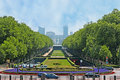 The elizabeth park brussels belgium june shady located next to basilique du sacre coeur on koekelberg hill with a view on Stock Photo
