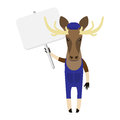 Elk with banner illustration of an on a white background Royalty Free Stock Photos
