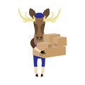 Elk with boxes illustration of an on a white background Stock Photos
