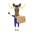 Elk with delivery box illustration of an on a white background Royalty Free Stock Photo