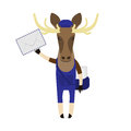 Elk with post envelope illustration of an on a white background Stock Photo