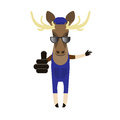 Elk in sunglasses illustration of an on a white background Stock Photo