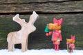 Elks moose meet in front of wood Royalty Free Stock Photo