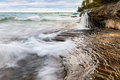 Elliot Falls on Miners Beach at Pictured Rocks. Munising, Michig Royalty Free Stock Photo