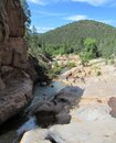 Ellison Creek waterfall in Arizona with people below Royalty Free Stock Photo