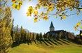 Ellmau castle, view through golden maple leaves