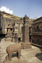 Ellora Caves. Courtyard of Ancient Hindu Temple Royalty Free Stock Image