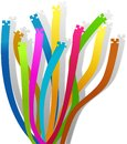 Elongated curly colored puzzle ribbons and warped Stock Photography