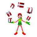 Elves with Gift box Royalty Free Stock Images