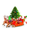 Elves pushing a santa and his sleigh Stock Images