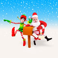 Elves and santa claus with letter box Royalty Free Stock Photography