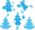 Elves silhouettes some isolated on white background Royalty Free Stock Images