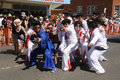 Elvises strike the pose a group of elvis fans or elvi during annual parkes elvis festival festival largest of its kind in Royalty Free Stock Photography