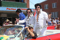 Elvises travel in style three or elvi the parkes elvis festival parade the festival the largest of its kind the southern Royalty Free Stock Photo