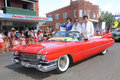 Elvises travel in style three or elvi the parkes elvis festival parade the festival the largest of its kind the southern Stock Photo