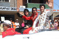 Elvises travel in style three or elvi the parkes elvis festival parade the festival the largest of its kind the southern Royalty Free Stock Images