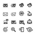 Email application icon set, vector eps10 Royalty Free Stock Photo