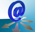 Email arrows shows information mailed to addresses showing Stock Photography