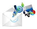 Email business graph set design illustration over a white background Stock Photos