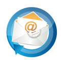 Email communication cycle illustration design over white Stock Photos