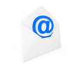 Email concept e mail sign in envelope on a white background Stock Photos