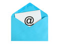 Email concept paper sheet with icon in blue envelope Royalty Free Stock Image
