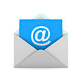 Email concept at sign on blue paper in white envelope