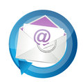 Email contact cycle illustration design over white Royalty Free Stock Image