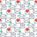 Email envelope cover communication correspondence seamless pattern background outline design paper empty card writing Royalty Free Stock Photo