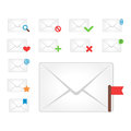 Email envelope cover icons communication and office correspondence blank cover address design paper empty card business