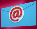 Email envelope shows global correspondence post online showing Royalty Free Stock Photo