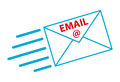 Email flying blue envelope with the inscription Royalty Free Stock Photography
