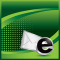Email icon on green halftone advertisement Royalty Free Stock Photo