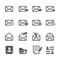 Email icon set, vector eps10 Royalty Free Stock Photo